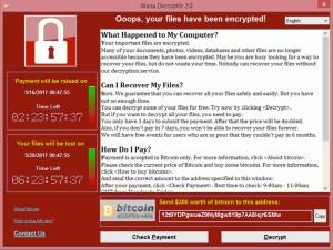 Affichage du logiciel Wannacry : payez 300$ en bitcoins
